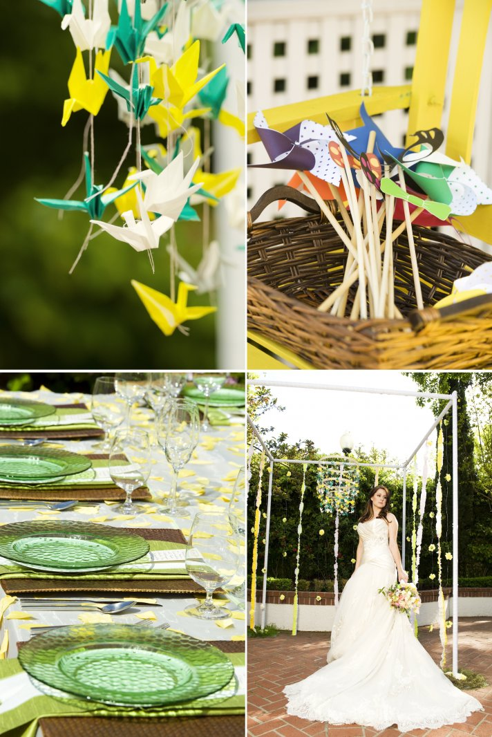 whimsical garden wedding paper cranes pinwheels