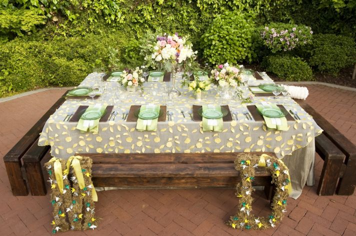 whimsical garden wedding green yellow pastel pinks wedding decor