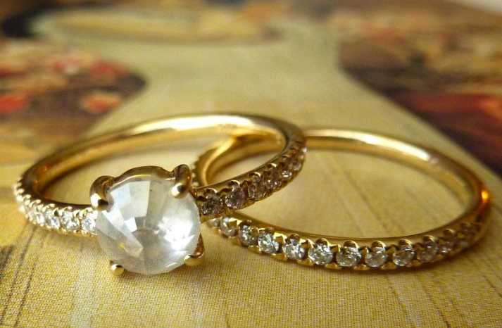 unique engagement rings wedding bands on etsy rose cut round diamond