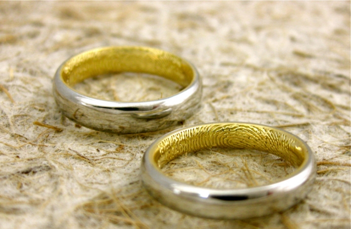 unique engagement rings wedding bands on etsy fingerprint two tone