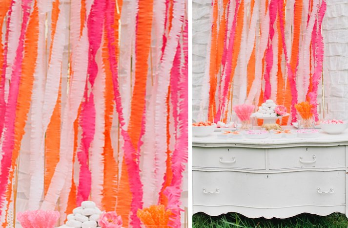 summer wedding DIY ideas bright backdrop orange pink