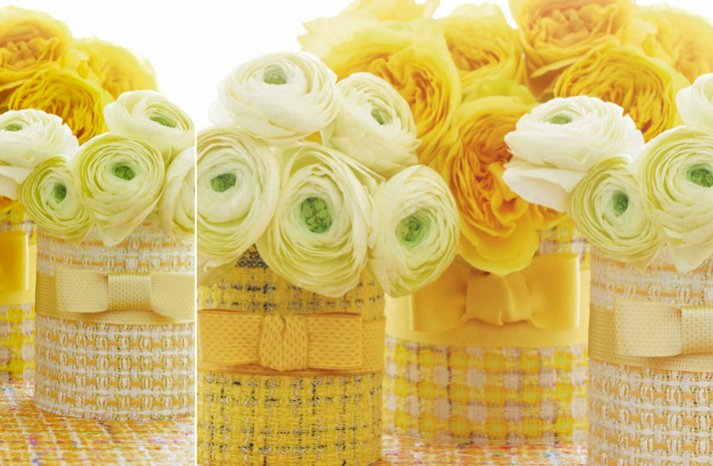 summer wedding DIY ideas Chanel inspired couture vases