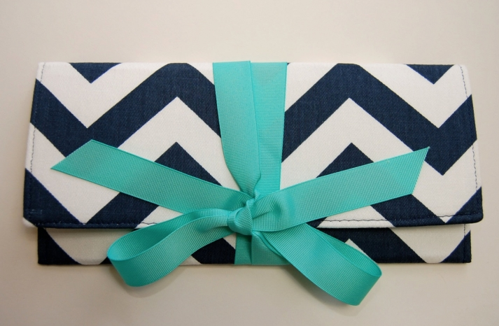wedding color inspiration navy blue bridal wedding finds chevron clutch turquoise bow