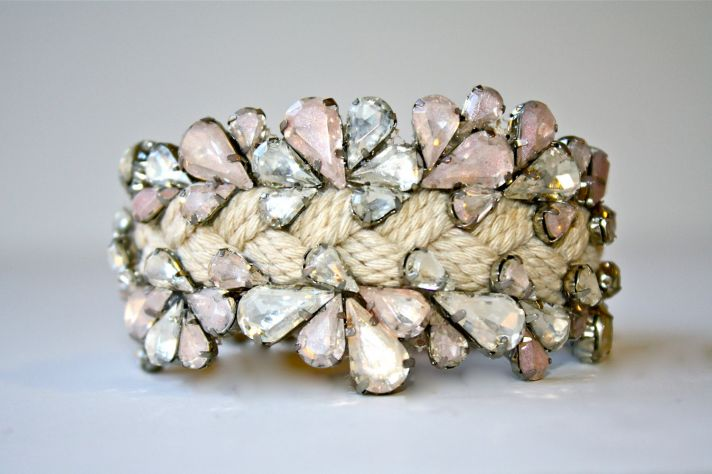 elegant wedding jewelry custom bridal bling accessories two tone blush pink cuff