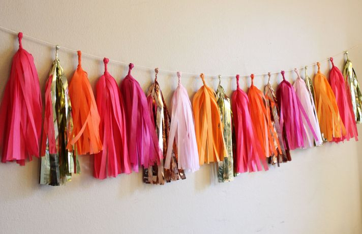 fuchsia gold wedding inspiration tissue tassle garland