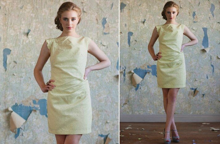 Ruche bridesmaids dresses stylish bridal party attire pastel yellow