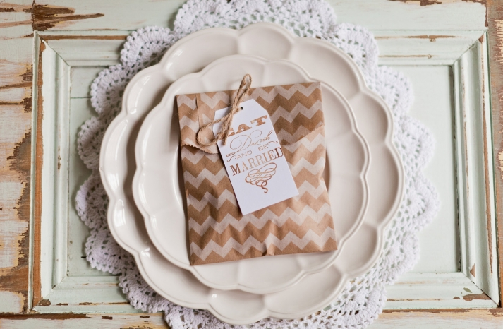 chevron wedding inspiration guest favor bags