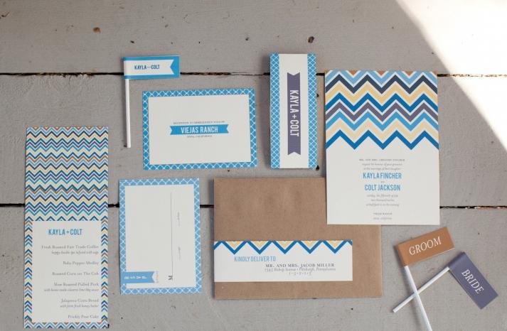 chevron wedding inspiration stationery set from Etsy