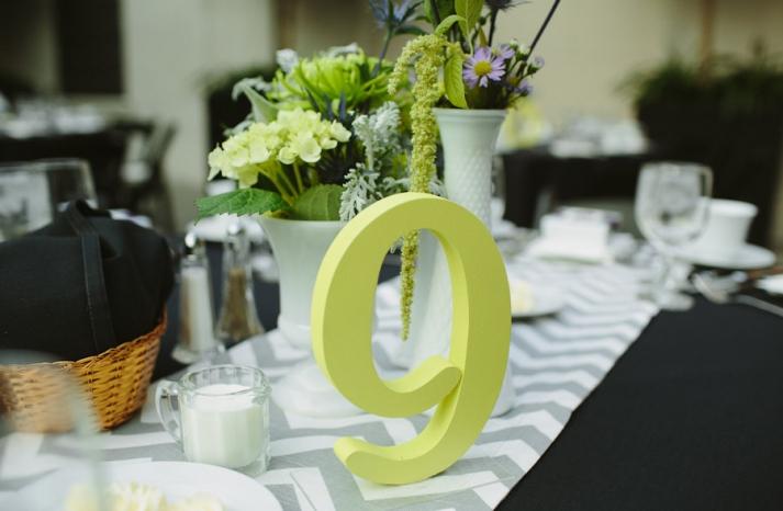 chevron wedding inspiration tablescape gray black green