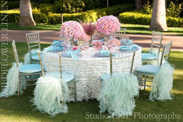 ruffle adorned wedding chairs draped chiavari beach wedding