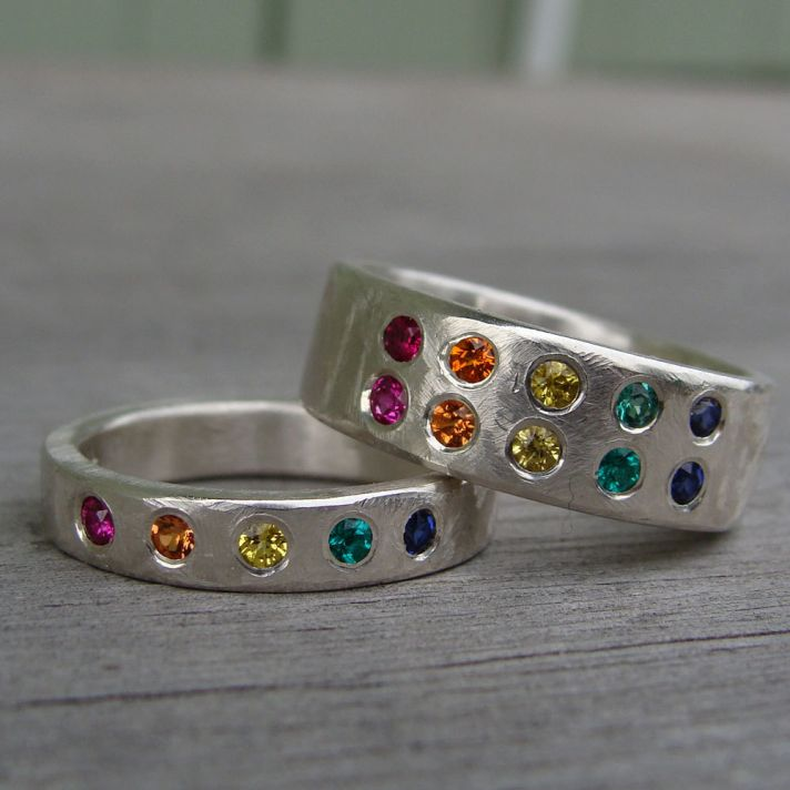 rainbow wedding inspiration wedding bands