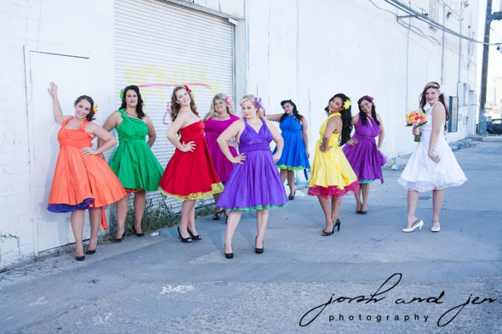 rainbow wedding inspiration colorful bridesmaids