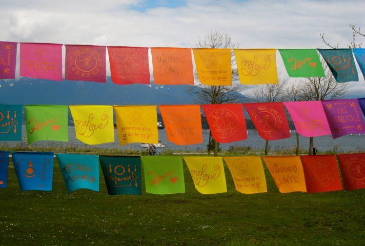 rainbow wedding inspiration bunting for outdoor wedding ceremony reception