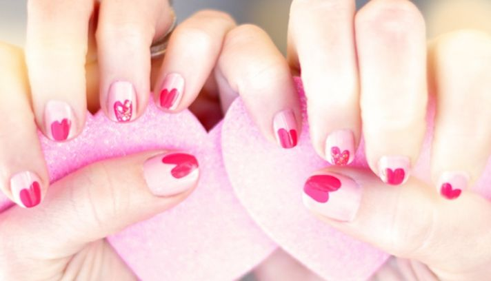 wedding worthy manicures for the fashion forward bride white red hearts 2