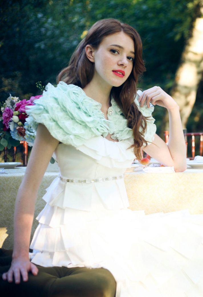 something blue wedding inspiration bridal style spotting lace caplet