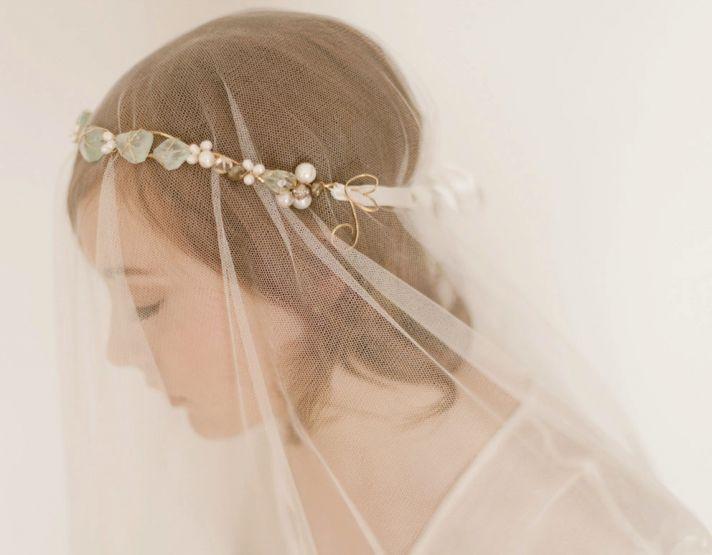 something blue for brides romantic veil