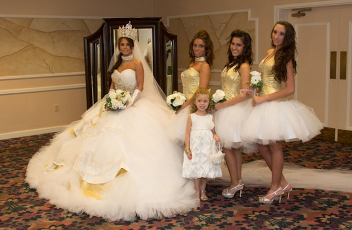 bad bridesmaid style ugly bridal party photos wedding fun gold corset with tutu skirt