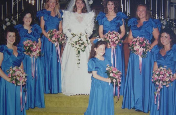 bad bridesmaid style ugly bridal party photos wedding fun 80s blue