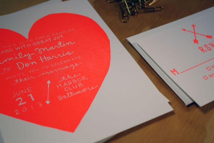 unique wedding invitations letterpress stationery for brides grooms neon love