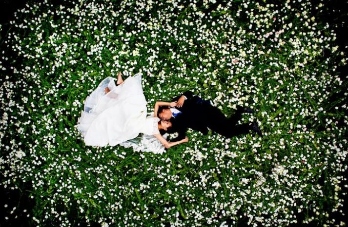 priceless wedding photos bride groom kiss in flowering field