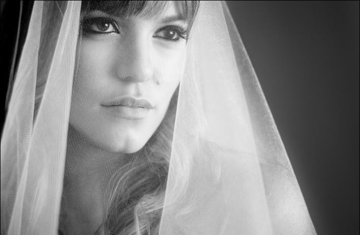 black white bridal portrait
