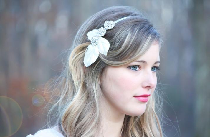 chic bridal headbands unique wedding hair accessories rhinestones velvet leaf