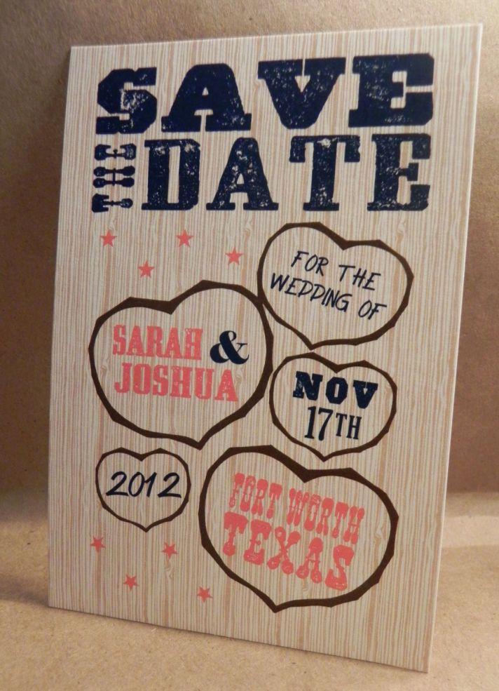 wood wedding invitation heart design