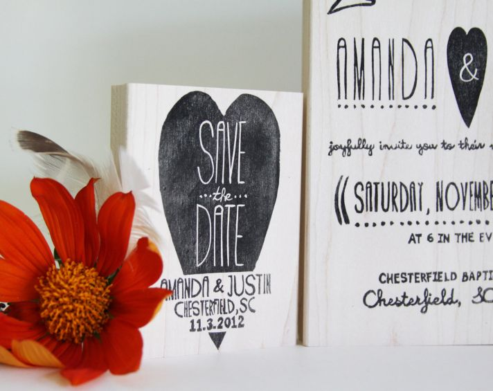 custom wedding stamp suite hearts