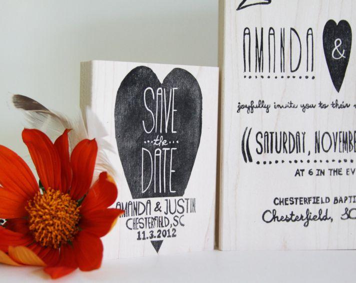 custom wedding stamp suite hearts