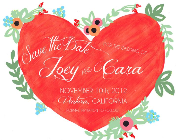 handpainted wedding save the date red green heart