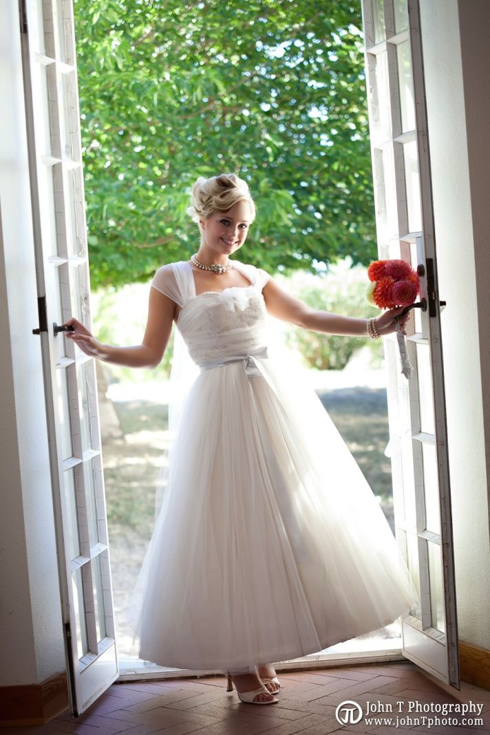shirred wedding dress tulle bridal gown vintage inspired