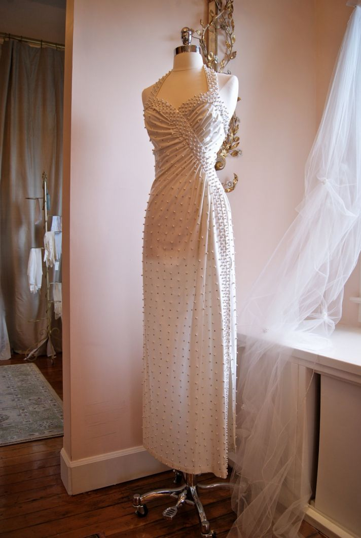 vintage wedding dress bridal gown inspiration from Etsy 1970 s pearlized halter