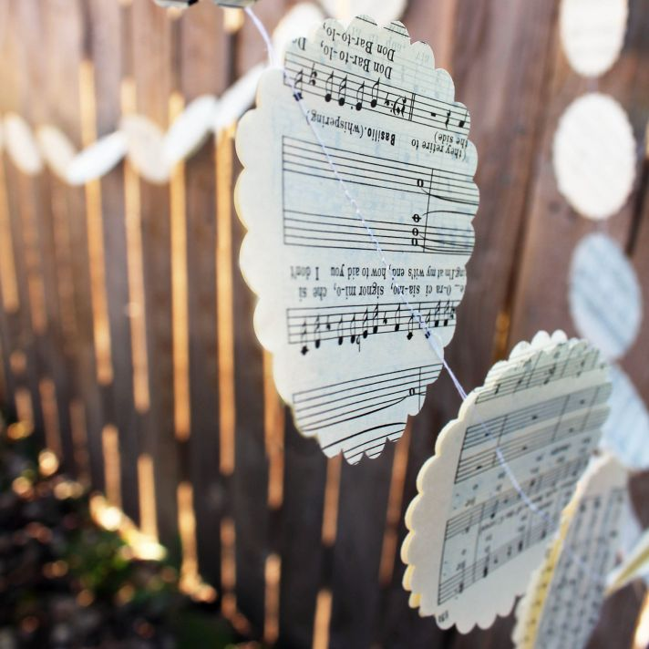 music themed wedding accessories ceremony reception decor rustic garland