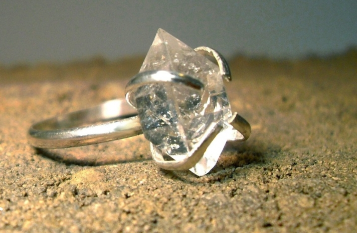 unique diamond engagement rings wedding jewelry with rough Herkimer stones 6