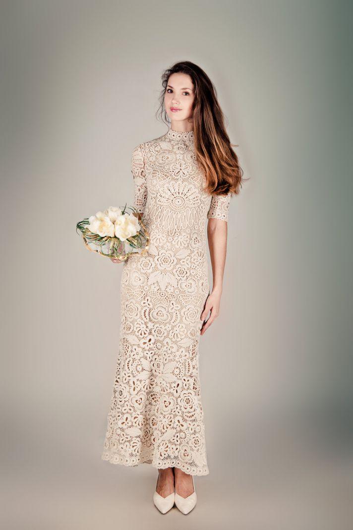 unique wedding dresses non white bridal gown beige crochet