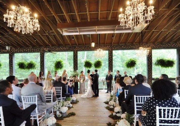 elegant north carolina wedding bridesmaids during vows