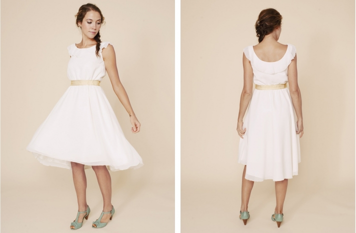 simple wedding dresses understated bridal gown LWD with sash
