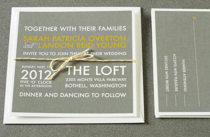 wedding invitations for modern weddings Etsy wedding finds gray yellow ivory
