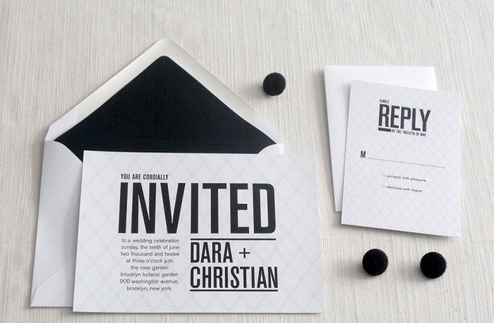 wedding invitations for modern weddings Etsy wedding finds black white chic