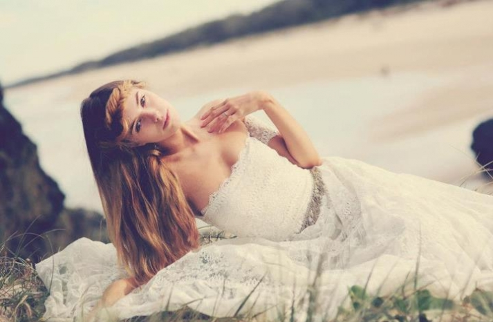 bohemian bride at a beach wedding bridal gown beauty inspiration 8
