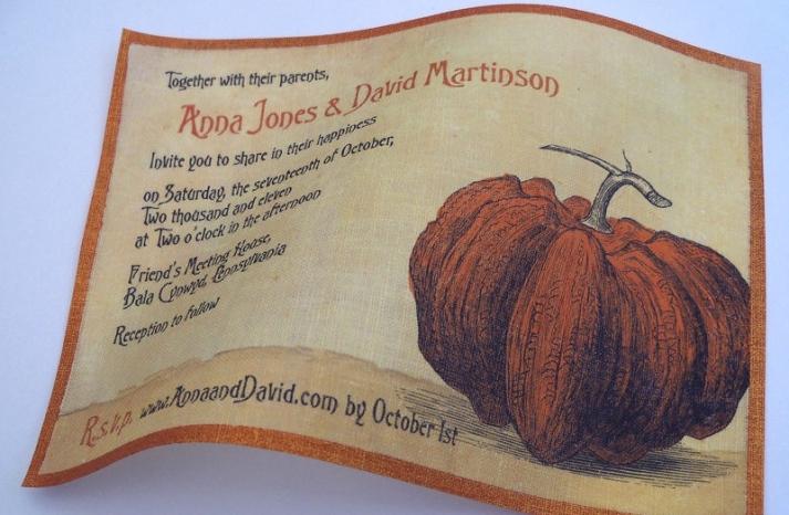 halloween wedding ideas for fall weddings Etsy handmade linen invitations