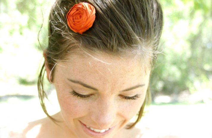 handmade wedding finds for Halloween themed I Dos orange hair accessory
