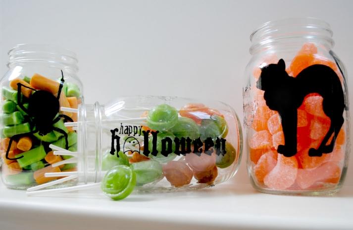 handmade wedding finds for Halloween themed I Dos mason jar favors
