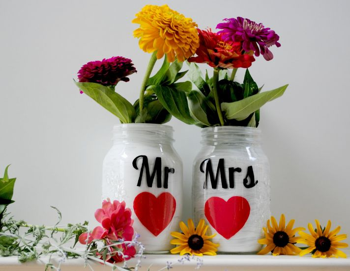 things brides love Mason Jar wedding reception decor centerpieces Mr and Mrs