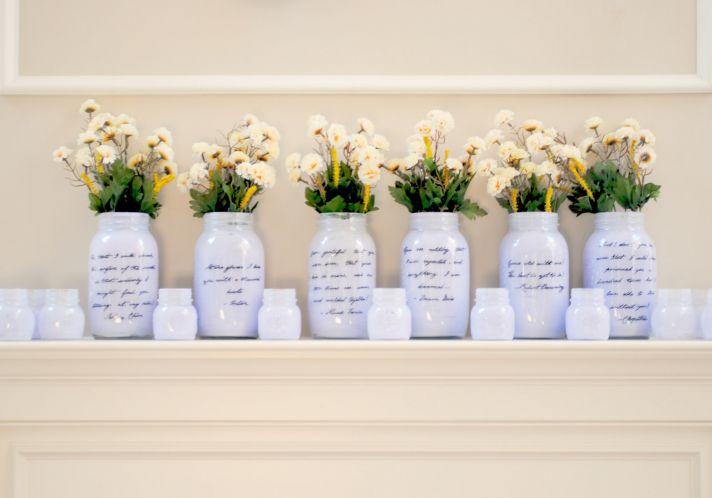 things brides love Mason Jar wedding reception decor centerpieces romantic light lilca