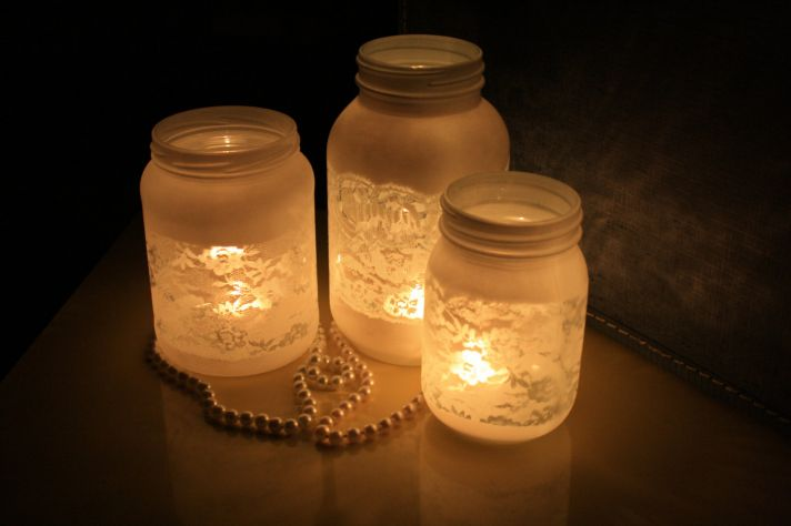 things brides love mason jar wedding reception decor centerpieces frosted with lace