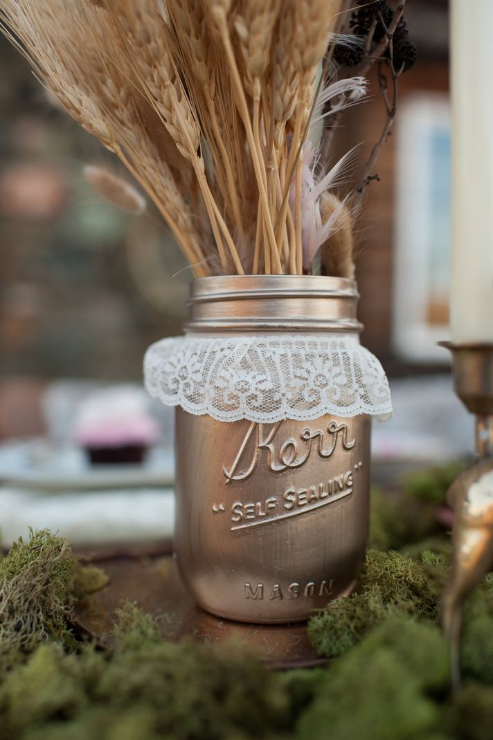 things brides love Mason Jar wedding reception decor centerpieces gold rustic