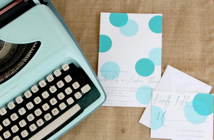 wedding inspiration from Etsy polka dots vintage aqua white invitations