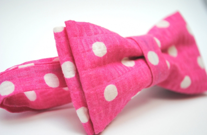 wedding inspiration from Etsy polka dots pink white bow tie