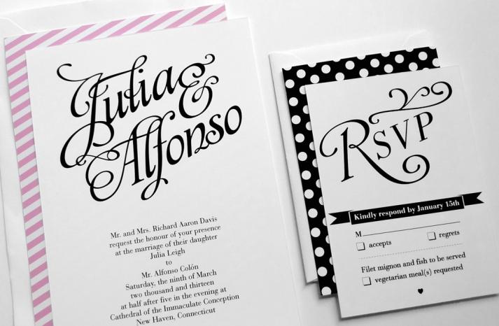 wedding inspiration from Etsy polka dots modern invitations black white pink